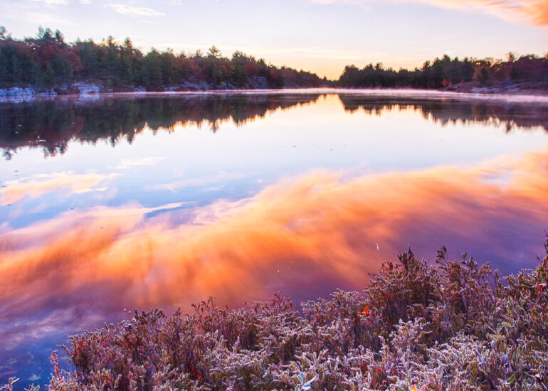 Canada, Gravenhurst, HDR, HDR Efex Pro, North America, Ontario, Torrance, landscape, mist, morning, morning light, reflecting, reflection, sunrise, workshop