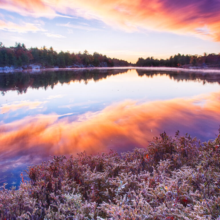 Canada, Gravenhurst, HDR, HDR Efex Pro, North America, Ontario, Torrance, landscape, mist, morning, morning light, reflecting, reflection, sunrise, workshop