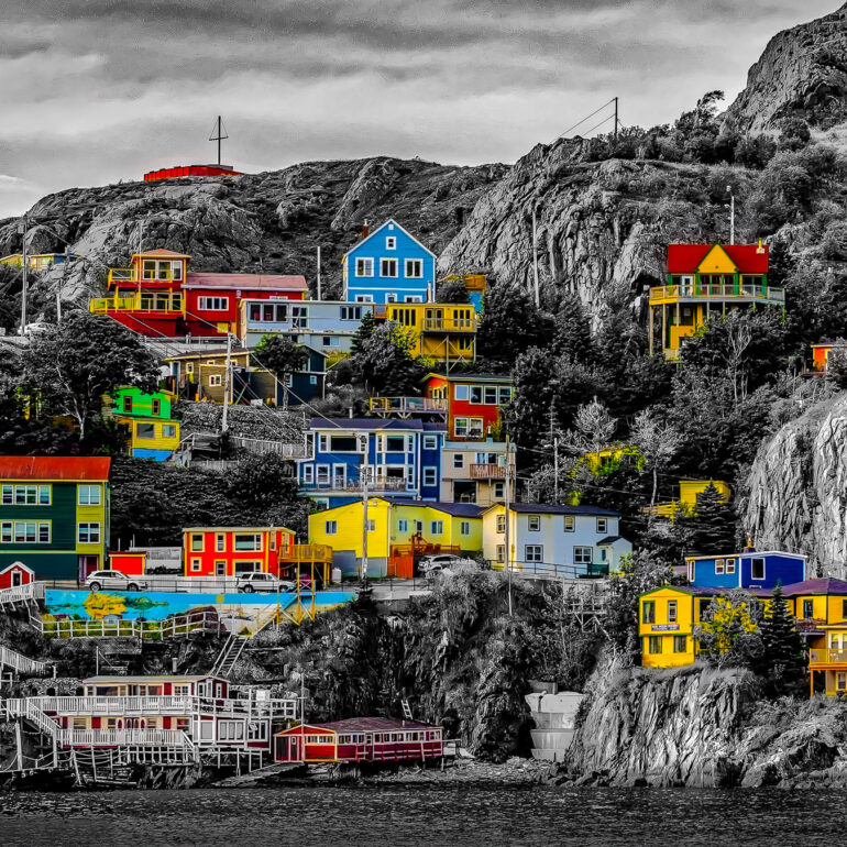 Canada, Newfoundland & Labador, North America, St. John's, The Battery, black & white, digital art, landscape, panoramic, shore, shoreline