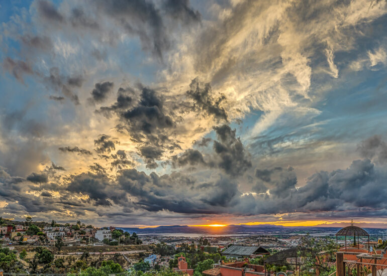 EVENTS, Glenn & Sharon's House, HDR, Macphun Intensify, Mexico, North America, Photomatrix Pro, San Miguel, San Miguel de Allende, San Miguel15, clouds, dramatic, landscape, panoramic, sunset