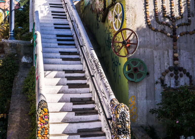 ART, Cerro Concepcion, Chile, Piano steps, South America, Valparaiso, architectural detail, graffiti, home parts, stairs, street art