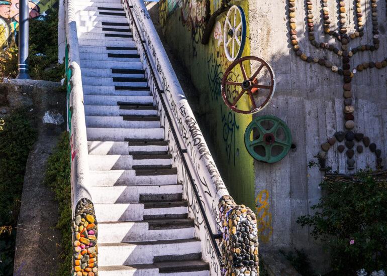 ART, Cerro Concepcion, Chile, Piano steps, South America, Valparaiso, architectural detail, graffiti, home parts, stairs, street art