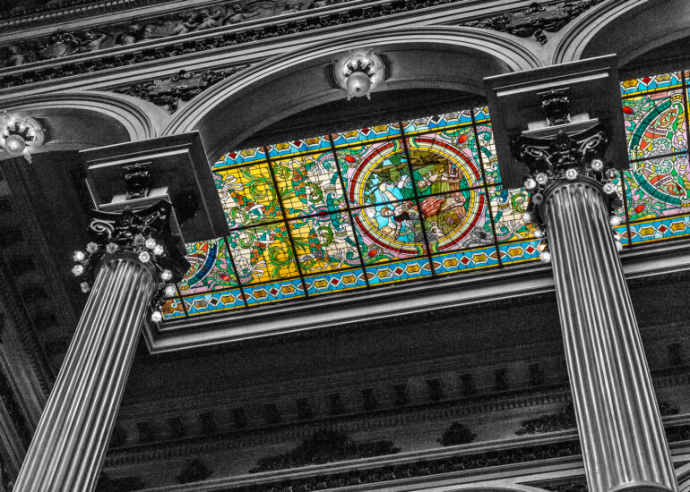 Argentina, Buenos Aires, San Nicolas, South America, Teatro Colón, architectural detail, black & white, building, ceiling, column, columns, digital art, historic, historic building, photography, stained glass