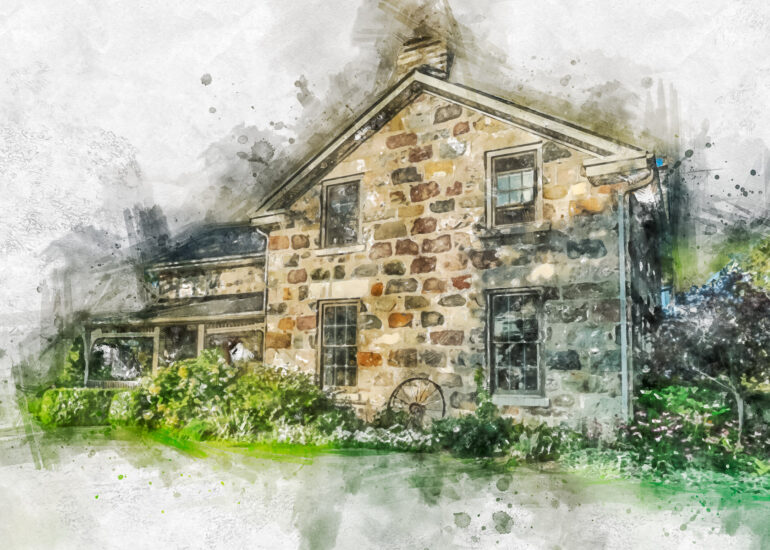Action - Watercolour, Canada, Granton, HDR, MacPhun Aurora HDR, North America, Ontario, building, commercial building, farm building, house, residential building