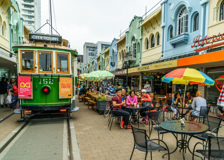 Cathedral Junction, Christchurch, New Zealand, Oceania, South Island, land transportation, tourism, tracks, tram
