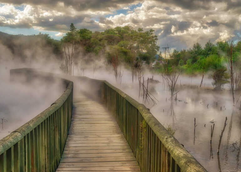 New Zealand, North Island, Oceania, Rotorua, bridge, geothermal, infrastructure building