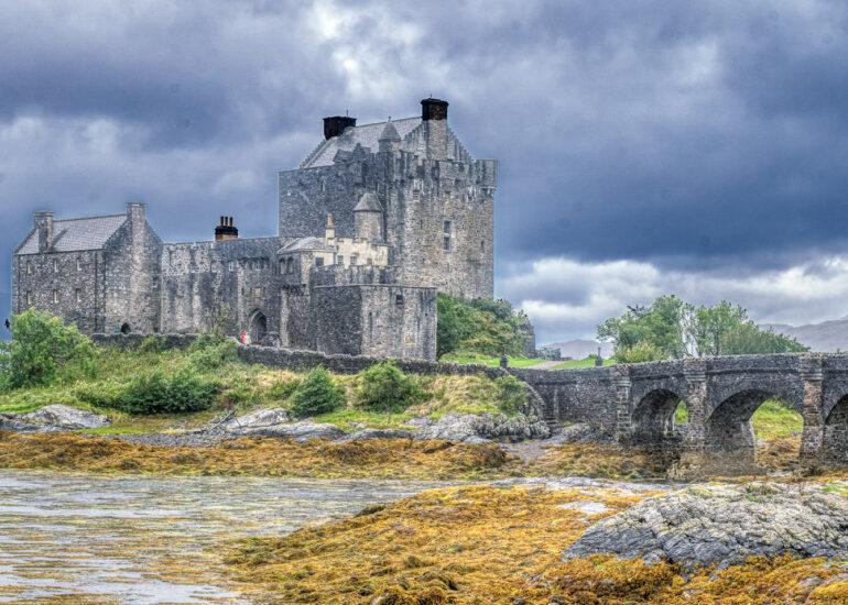 Dornie, Eilean Donan Castle, Europe, Scotland, The Highlands, United Kingdom, landscape