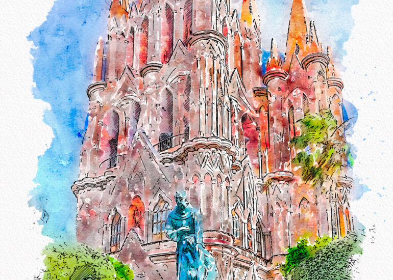 Action - Watercolour, EVENTS, HDR, La Parroquia de San Miguel Arcangel, Mexico, North America, PS_Action- Aquarelleum, San Miguel de Allende, San Miguel14, digital art
